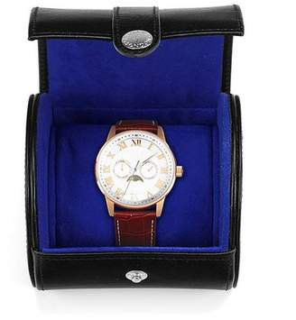 Aspinal of London Travel Watch Roll In Smooth Cognac Stone Suede