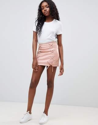 Glamorous lace up pu skirt