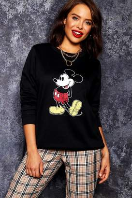 boohoo Disney Mickey Distressed Sweat