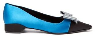 Gabor Fabrizio Viti Bow Embellished Satin Ballet Flats - Womens - Black Blue