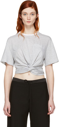 T by Alexander Wang Grey & White Front Twist T-Shirt $175 thestylecure.com