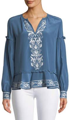 Parker Sawyer Split-Neck Long-Sleeve Embroidered Silk Blouse