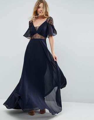 Asos Design Lace Insert Flutter Sleeve Maxi Dress