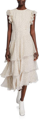 Mikael Aghal Asymmetric Tiered Floral Print Midi Dress