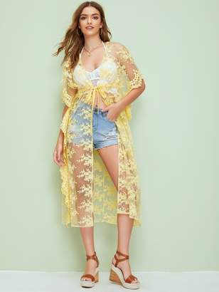 Shein Drawstring Waist Split Hem Sheer Embroidery Mesh Kimono