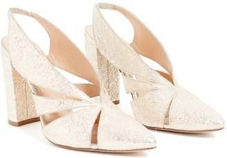 WtR - WtR Crinkle Gold Leather Slingback Block Heels