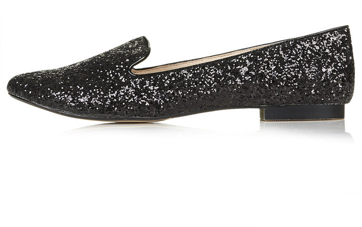 Black glitter slipper shoes. 100% synthetic.