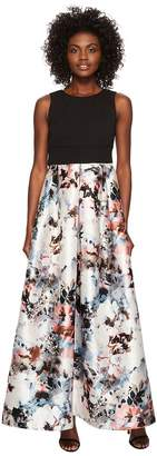 Sangria Ballgown with Floral Printed Skirt Women's Dress
