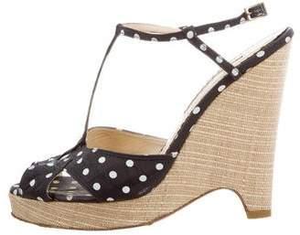 Oscar de la Renta Polka Dot Wedge Sandals