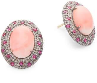 Arthur Marder Fine Jewelry 14K Yellow Gold, Sterling Silver, Ruby & Diamond Stud Earrings