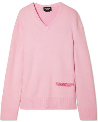 Calvin Klein Embroidered Wool And Cotton-blend Sweater - Baby pink