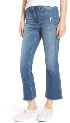 SP Black Raw Edge Crop Flare Jeans (Medium Wash)