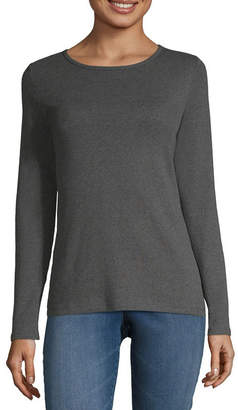 Liz Claiborne Long Sleeve Crew Neck T-Shirt-Womens