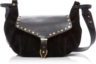 Isabel Marant Sinley Studded Leather and Velvet Shoulder Bag