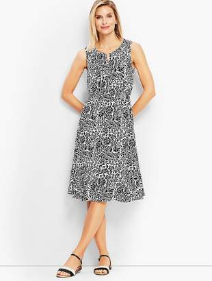 Talbots Wildflower Flounce Fit-and-Flare Midi Dress