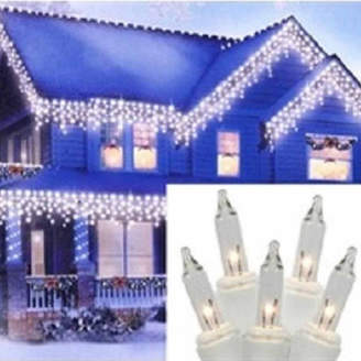 asstd national brand set of 300 heavy duty clear icicle christmas lights 3 spacing with white