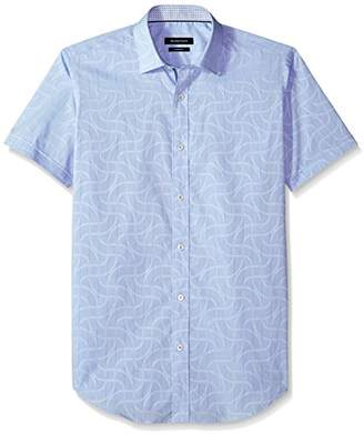 Bugatchi Men's Short Sleeve Fitted Pin Stripes Point Collar Sport Shirt