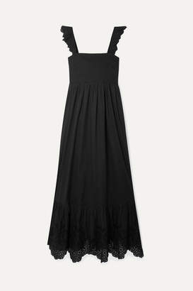 Apiece Apart Quince Broderie Anglaise-trimmed Cotton-voile Midi Dress - Black