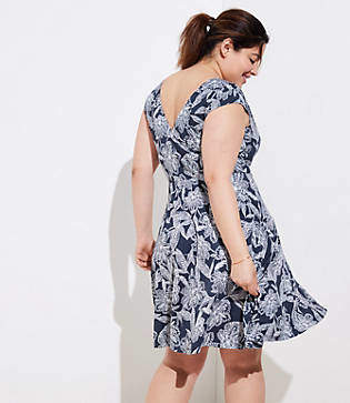 LOFT Plus Abstract Floral Wrap Back Flare Dress