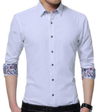 fe8f9399c3872a Frieed Mens No-Iron Long Sleeve Slim Fit Color Contrast Point Collar Dress  Shirts XS