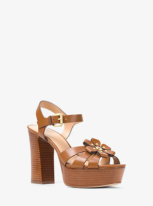 Michael Kors Tara Floral Embellished Leather Platform Sandal