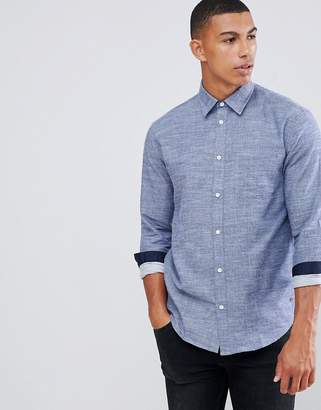 Solid chambray plain shirt in navy