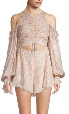 Alice McCall Ruffled Silk-Blend Cold-Shoulder Romper