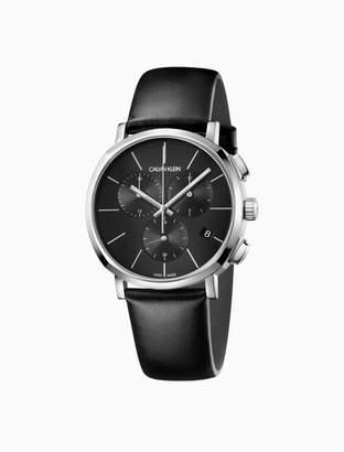 Calvin Klein posh leather chronograph watch