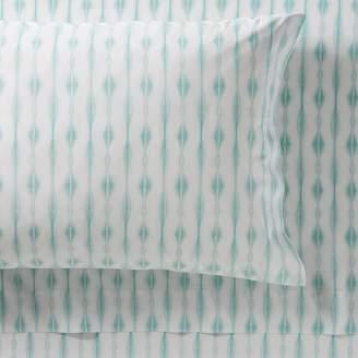 Pottery Barn Teen Tie Dye Stripe Organic Sheet Set, Queen, Pale Seafoam