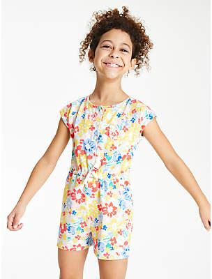 John Lewis & Partners Girls' Floral Print Playsuit, Multi