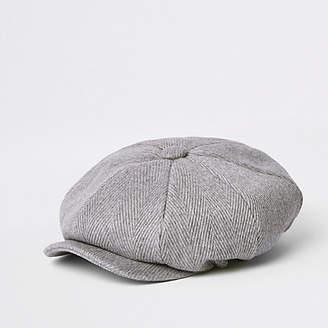 River Island Light grey herringbone baker boy hat