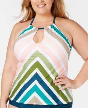 Sonora Raisins Curve Trendy Plus Size Islands Printed Underwire Tankini Top Women's Swimsuit