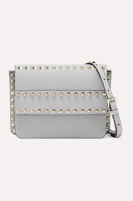 Valentino Garavani The Rockstud Textured-leather Shoulder Bag - Gray