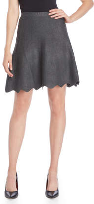 Vila Milano Scalloped Hem Line Knit Skirt