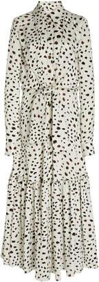 Carolina Herrera Printed And Belted Satin Maxi Shirt Dress Size: 0
