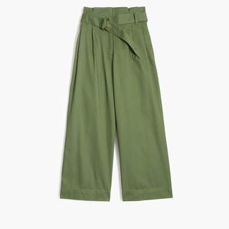 J.Crew Wide-leg crop pant with belted waist