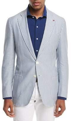 Isaia Domenico Striped Seersucker Two-Button Sport Coat, White/Blue