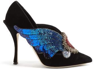 Dolce & Gabbana Sequin and crystal-embellished velvet pumps