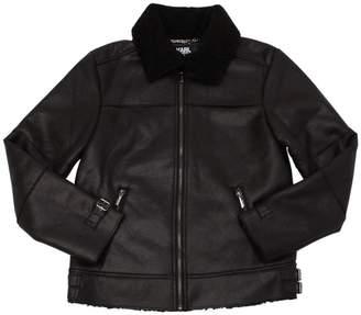 Karl Lagerfeld Faux Shearling Aviator Jacket