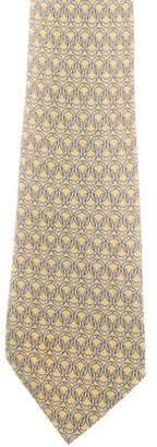 Hermes Horseshoe Print Silk Tie