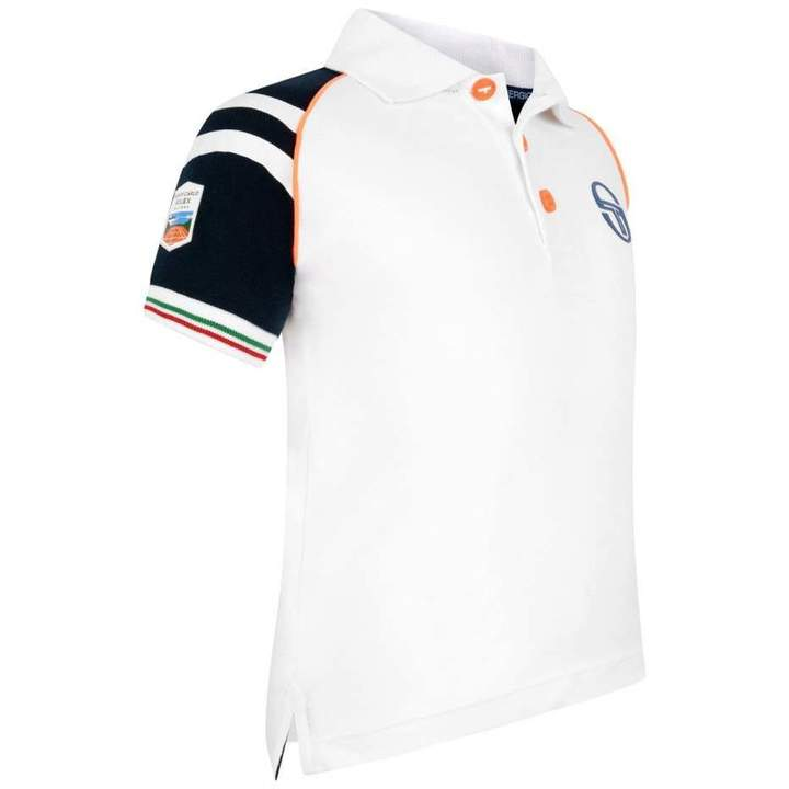Sergio TacchiniWhite Navy & Orange Polo Top