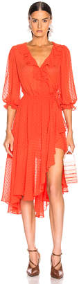Icons Objects Of Devotion Objects of Devotion 3/4 Sleeve Cha Cha Wrap Dress in Hot Orange | FWRD