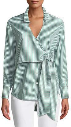 Bardot Wrap Tie Button-Down Poplin Shirt