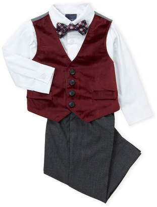 Nautica Infant Boys) 4-Piece Velvet Vest & Houndstooth Dress Pants Set