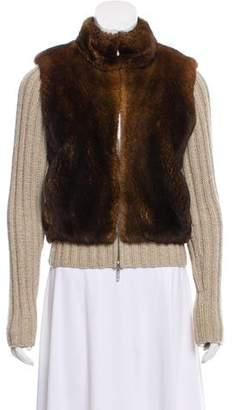 TSE Fur-Paneled Cashmere Cardigan