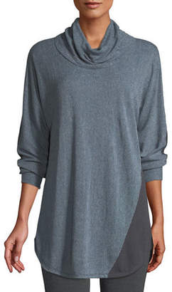 Nic+Zoe Essence Cowl-Neck Long-Sleeve Colorblocked Striped Top