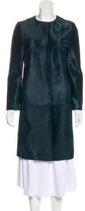 Max Mara Leather Knee-Length Coat