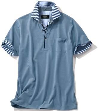 ベルーナ (ベルーナ) - ベルーナ <DEVALTE>レイヤードデザイン布帛衿半袖ポロシャツ ボルドー 3L メンズ
