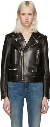 Saint Laurent Black Leather Motorcycle Jacket $4,890 thestylecure.com