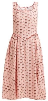 Batsheva Corset Rose Print Cotton Dress - Womens - Pink Multi